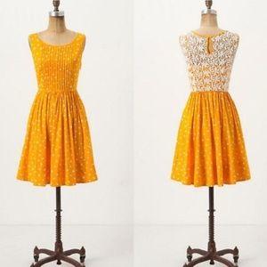 Anthro Moulinette Gold Polkadot Crochet Back Dress